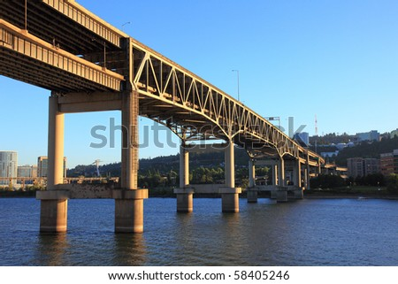The Marquam Bridge in Portland, Oregon