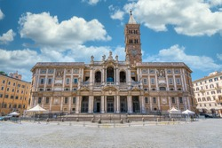 The marvelous facade of the Basilica of Santa Maria Maggiore in Rome, Italy.