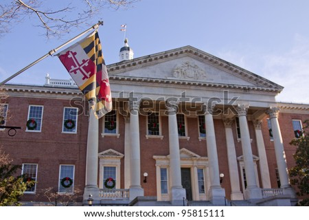The Maryland state flag at the north entrance of the State House in Annapolis, MD. where the Maryland General Assembly convenes for three months a year.