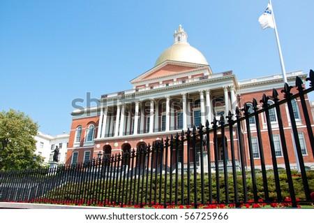 The Massachusetts State House, Boston. - stock photo