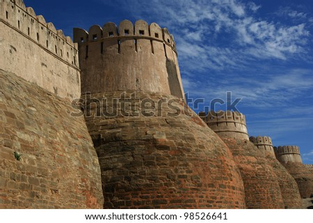 The massive ramparts of Kumbhalgarh Fort in Rajasthan, India
