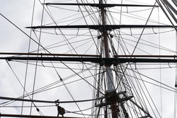 The masts and rigging of the Cutty Sark, Greenwich, London, England, UK