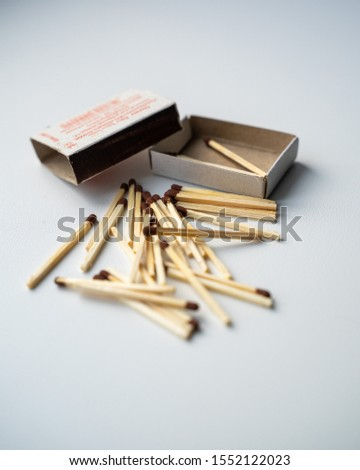The match box and matches isolated on white background