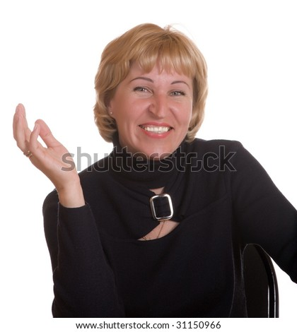 The mature woman expresses pleasure on a white background
