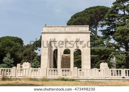 the Mausoleo Ossario Garibaldino  on the Janiculum Hill in Rome, dedicated to the fallen for Rome between 1849 (II Roman Republic) and 1870 #473498230