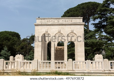 the Mausoleo Ossario Garibaldino  on the Janiculum Hill in Rome, dedicated to the fallen for Rome between 1849 (II Roman Republic) and 1870 #497693872