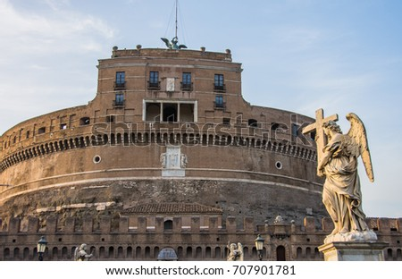 The Mausoleum of the Roman Emperor Hadrian, usually known as Castel Sant'Angelo, and the Sant'Angelo Bridge, in Rome, Italy. #707901781