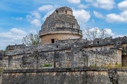 The maya astronomical observatory tower of El Caracol, Chichen Itza, Yucatan Peninsula, Mexico.