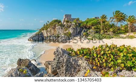 The maya ruins of Tulum with its idyllic beach by the Caribbean Sea, Quintana Roo state, Yucatan Peninsula, Mexico. #1345705403