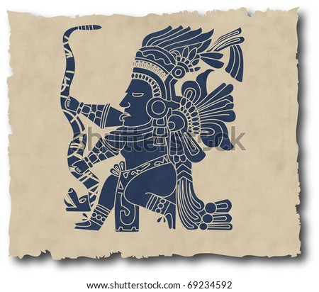 the mayan and inca tribal on old paper (vector version in portfolio)