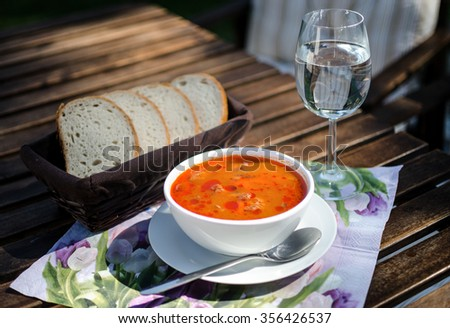 The meal served outdoors Zdjęcia stock ©