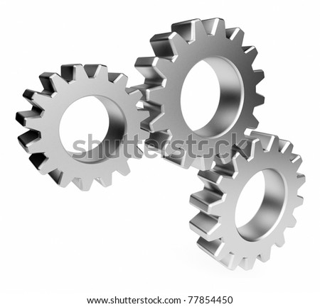 The mechanism. Gear 3d. Isolated  on white background - stock photo