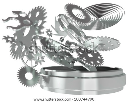 The mechanism of hours of a chronometer from gears and springs in 3d