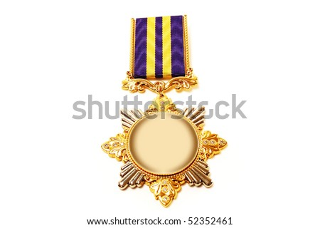 The medal is isolated on a white background