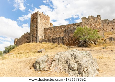 the Medieval castle of Medellin town, province of Badajoz, Extremadura, Spain