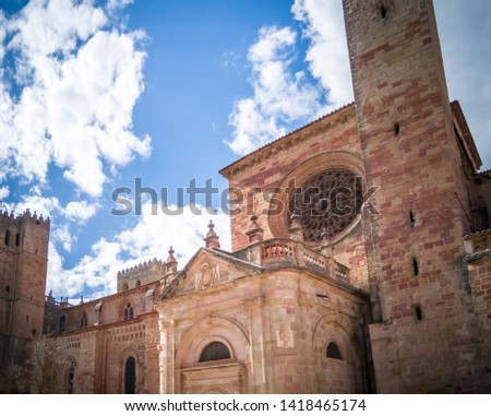 The medieval cathedral of Saint Maria located in Siguenza, Guadalajara in Castilla-la-Mancha region of Spain near Madrid. It was built in  built in Romanesque architectural style. #1418465174
