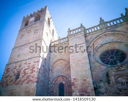 The medieval cathedral of Saint Maria located in Siguenza, Guadalajara in Castilla-la-Mancha region of Spain near Madrid. It was built in  built in Romanesque architectural style. #1418509130