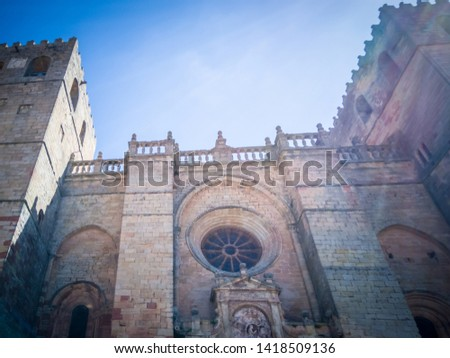 The medieval cathedral of Saint Maria located in Siguenza, Guadalajara in Castilla-la-Mancha region of Spain near Madrid. It was built in  built in Romanesque architectural style. #1418509136