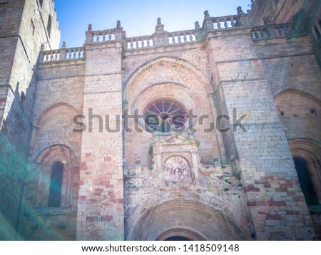 The medieval cathedral of Saint Maria located in Siguenza, Guadalajara in Castilla-la-Mancha region of Spain near Madrid. It was built in  built in Romanesque architectural style. #1418509148