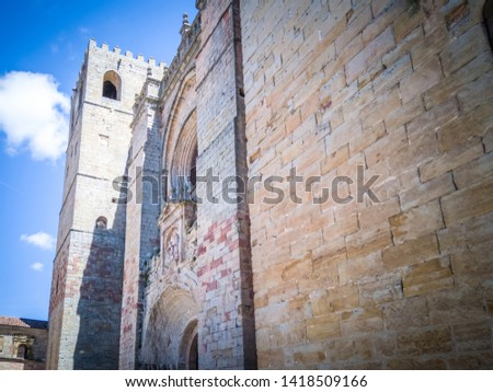 The medieval cathedral of Saint Maria located in Siguenza, Guadalajara in Castilla-la-Mancha region of Spain near Madrid. It was built in  built in Romanesque architectural style. #1418509166