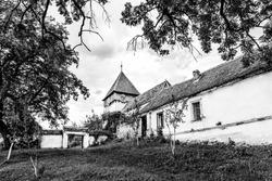 The medieval evangelical saxon fortified church of Rodbav village, near Fagaras, Brasov county, Transylvania, Romania; Traditional saxon fortified church of Transylvania