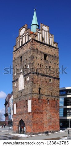 The medieval gate Kr�¶peliner Tor to the Hanseatic city of Rostock, Germany - Panoramic view