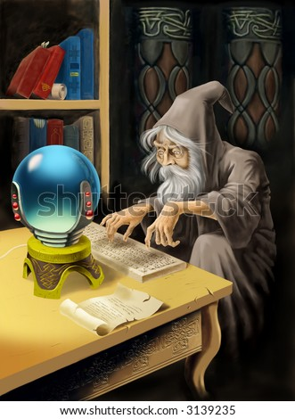 The medieval magician uses computer technologies.