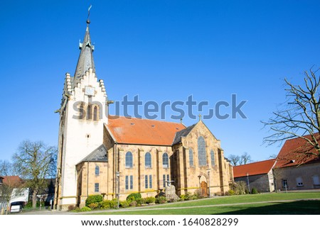 The medieval Saint John the Baptist Church in Hilter am Teutoburger Wald, Lower Saxony, Germany Zdjęcia stock ©