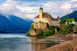 The medieval Schonbuhel castle, built on a rock on Danube river is a main historical landmark and popular tourist attraction in Wachau valley, a UNESCO cultural landscape, Austria