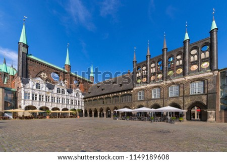 The medieval Town Hall (German: Lübecker Rathaus) of Luebeck (German: Lübeck), Germany. It is one of the largest medieval town halls in Germany.