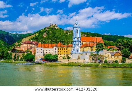 The medieval town of Durnstein along the Danube River in the picturesque Wachau Valley, a UNESCO World Heritage Site, in Lower Austria