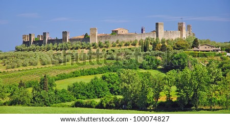 the medieval Village of Monteriggioni near Siena in Tuscany,Italy
