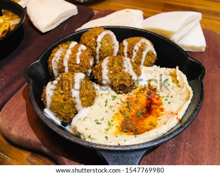 The Mediterranean Dish: chickpea, falafel.  Falafel/felafel is a deep-fried ball, or a flat or doughnut-shaped patty, made from ground chickpeas, fava beans, or both.