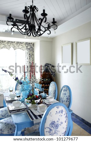 The mediterranean-style dining room