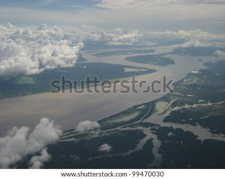 The Meeting of Waters (Portuguese: Encontro das Aguas) is the confluence between the Rio Negro, a river with dark (almost black coloured) water, and the sandy-coloured Amazon River or Rio Solimoes