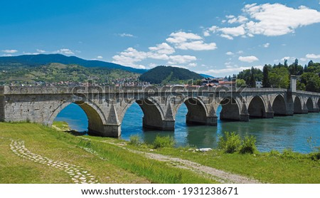 The Mehmed Pasa Sokolovic Bridge over the Drina River in Visegrad,  Bosnia and Herzegovina Stock photo ©