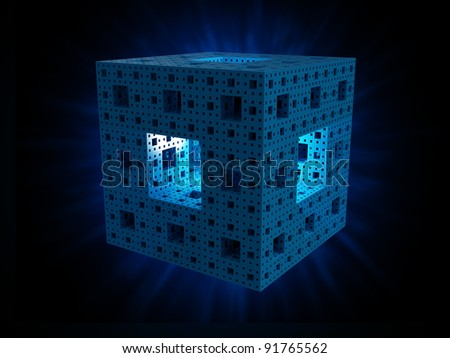 The Menger sponge 3d fractal shape - technology concept background illustration - stock photo