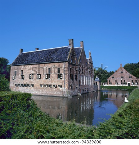 The Menkemaborg a castle in Uithuizen in the Netherlands with a beautiful moat