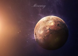 The Mercury shot from space showing all they beauty. Extremely detailed image, including elements furnished by NASA. Other orientations and planets available.