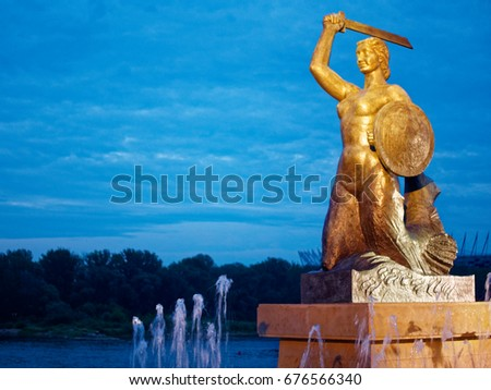 The mermaid - Syrena - is the symbol of the city of Warsaw, Poland. Zdjęcia stock ©