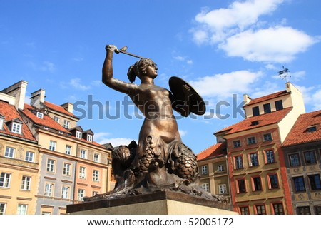 The mermaid - Syrena - is the symbol of the city of Warsaw (Poland). This statue is located in the center of the Market Square. Zdjęcia stock ©