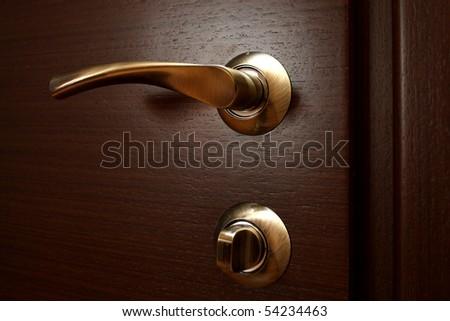 The metal door handle on a brown door close up.
