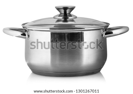 The metal pot with glass lid and plastic handles isolated on white background