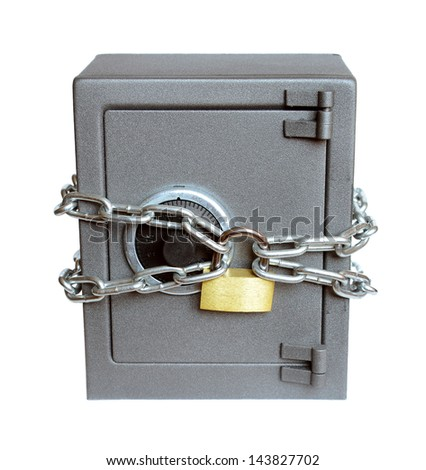 The metal safe on a white background.