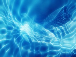 The metal texture of surface blue water reflected by sunlight for background. Blue water texture in the deep sea for background. Reflection on surface blue water. Blue water