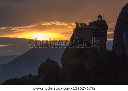 The Meteora Greek is a rock formation in central Greece hosting one of the largest and most precipitously built complexes of Eastern Orthodox monaste #1116296732