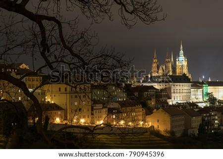 The Metropolitan Cathedral of Saints Vitus, Wenceslaus and Adalbert is a Roman Catholic metropolitan cathedral in Prague, the seat of the Archbishop of Prague. At night.  #790945396