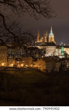 The Metropolitan Cathedral of Saints Vitus, Wenceslaus and Adalbert is a Roman Catholic metropolitan cathedral in Prague, the seat of the Archbishop of Prague. At night.  #790945402