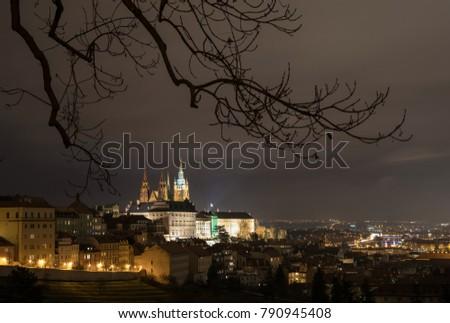 The Metropolitan Cathedral of Saints Vitus, Wenceslaus and Adalbert is a Roman Catholic metropolitan cathedral in Prague, the seat of the Archbishop of Prague. At night.  #790945408