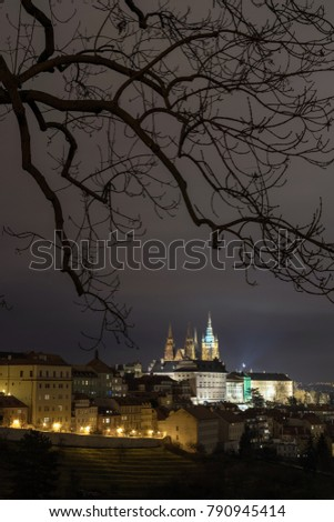 The Metropolitan Cathedral of Saints Vitus, Wenceslaus and Adalbert is a Roman Catholic metropolitan cathedral in Prague, the seat of the Archbishop of Prague. At night.  #790945414